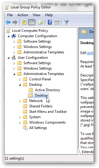 Prevent users to change the desktop background in Windows 7-1