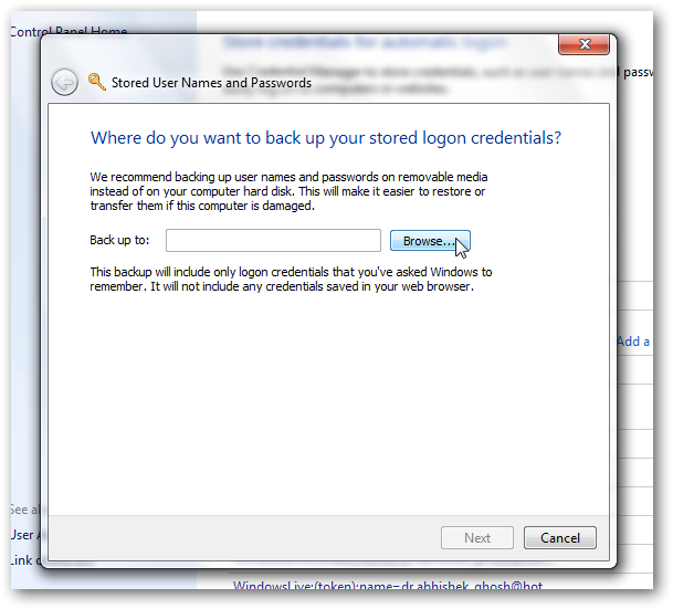 Backup Windows Vault logon in Windows 7