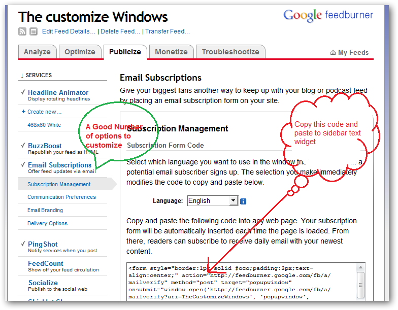 How to set up feedburner fee email subscription