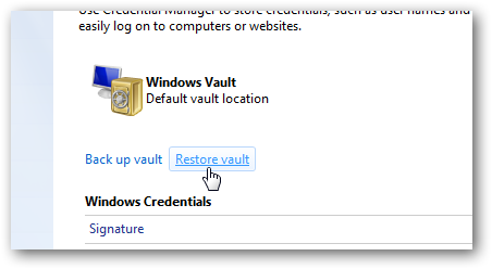 Restore Windows Vault