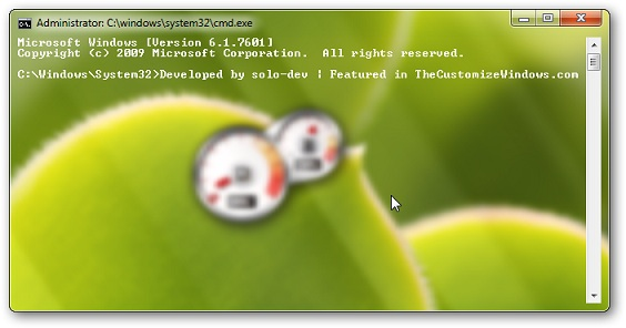 Windows 7 Command prompt fully transparent