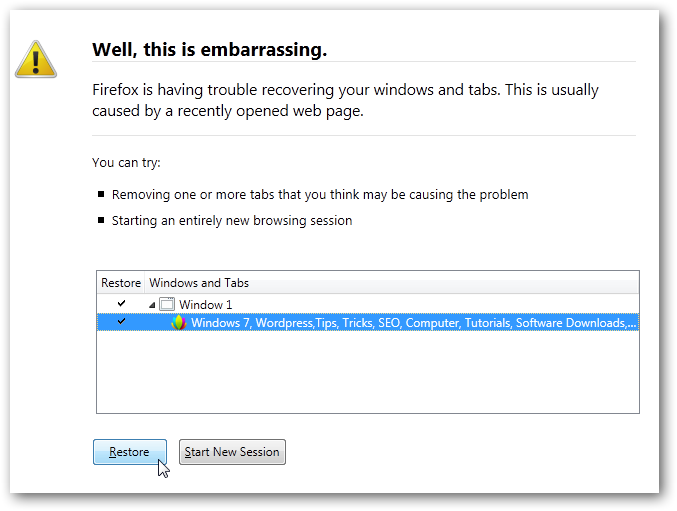 Restore previously opened tabs in Firefox 4 after inadvertent close-1