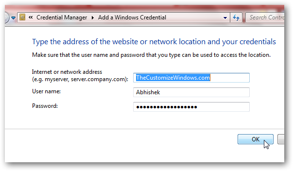 Windows Credential Manager creation