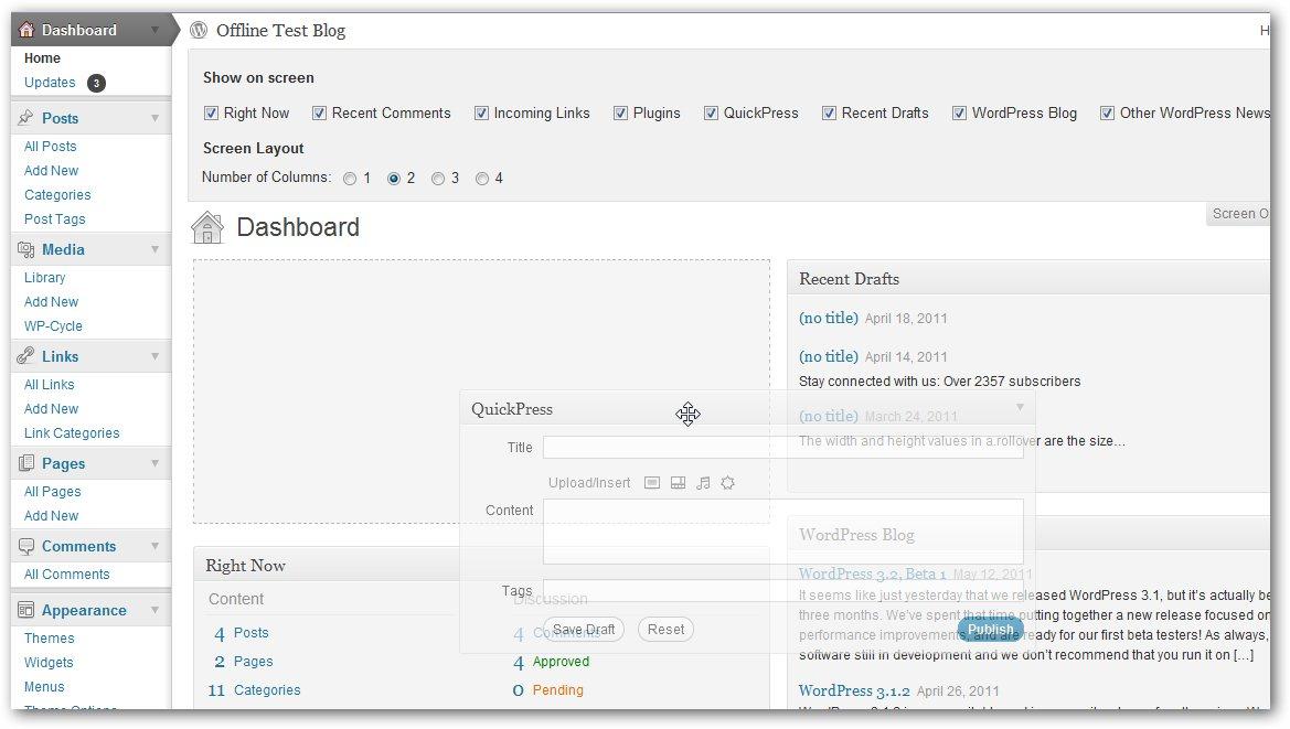 Wordpress 3.2 Beta screenshot