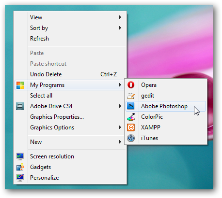 Cascading list of programs in right click context menu in Windows 7
