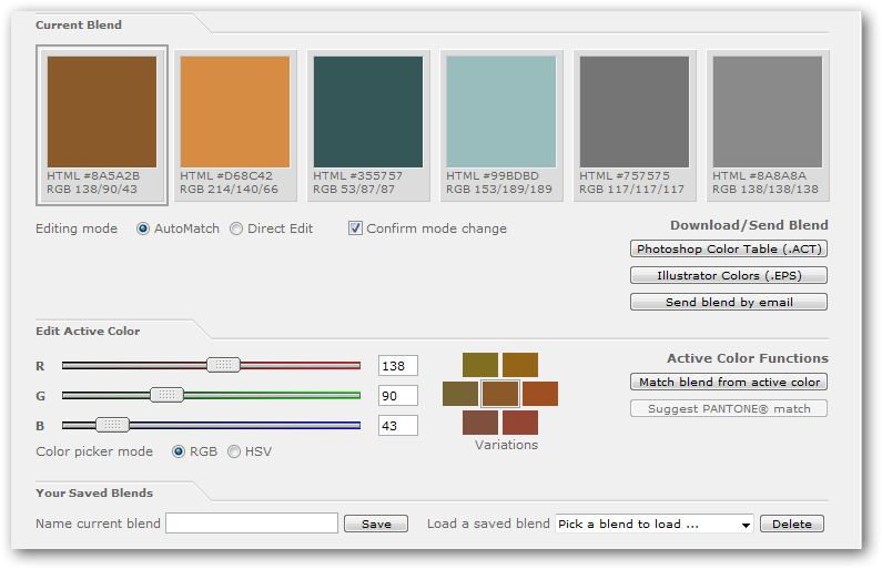 Color matching and palette design tool
