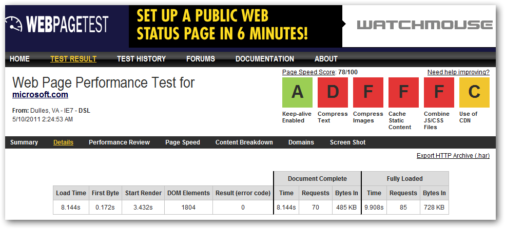Microsofts pagespeed