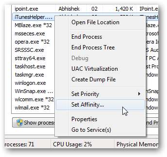 Set processor core utilization individually for each program
