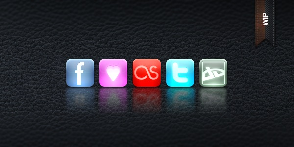 Social network icons of Glossy square style