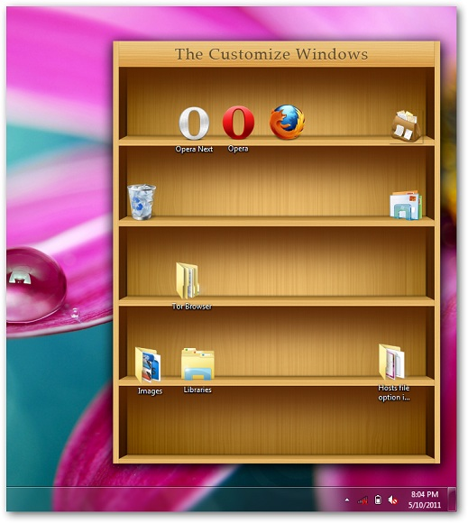 bookshelf like iPad to place icons in Windows 7 desktop