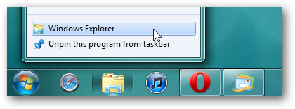 computer instead of library from taskbar explorer icon