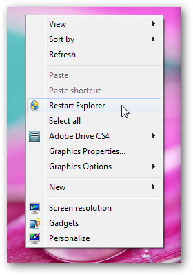 restart explorer option in right click context menu