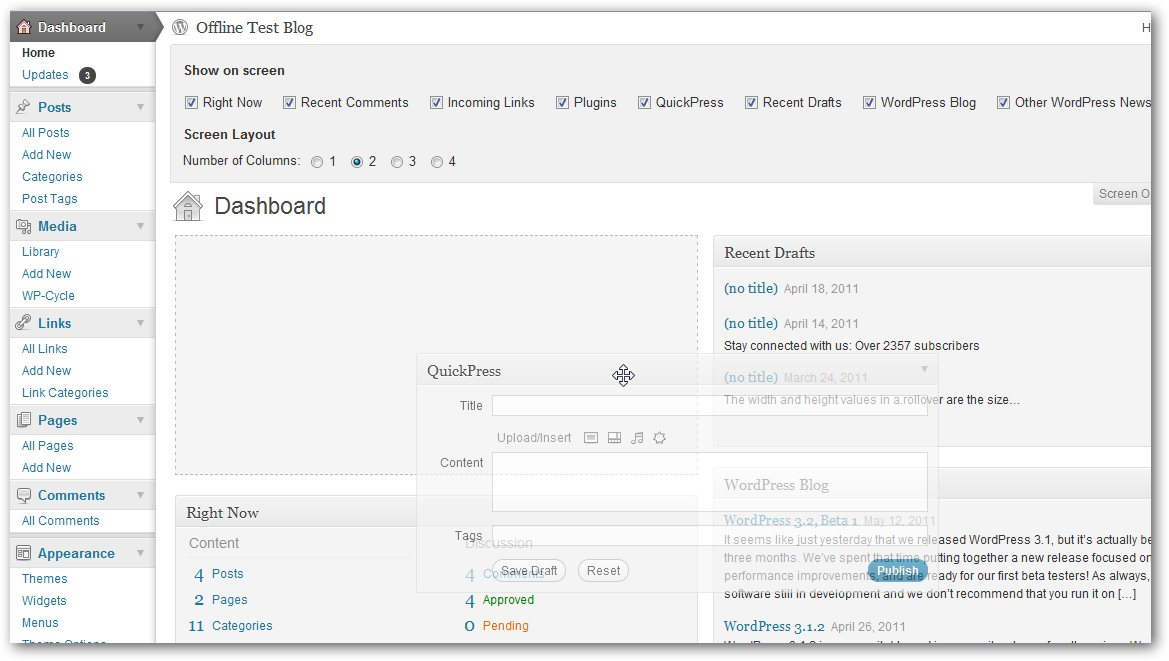 Wordpress 3.2 Beta screenshot