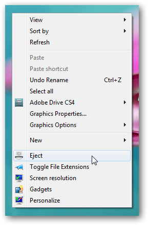 Eject CD DVD from right click context menu in Windows 7
