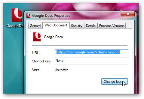 Google Docs on Windows 7 desktop