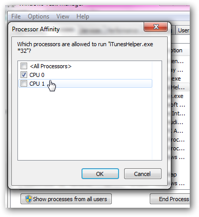 Set processor core utilization for each program bold