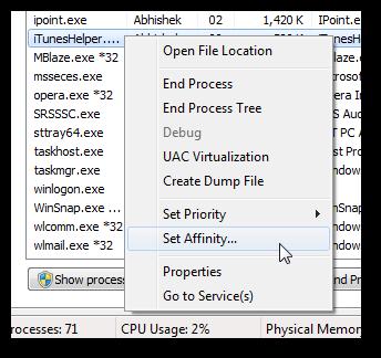 Set processor core utilization individually for each program