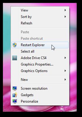 restart explorer option in right click context menu