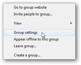 Windows live group settings