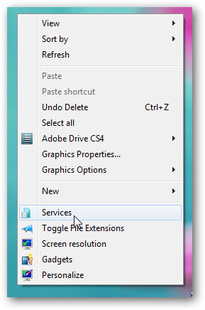Add Services to the right click menu in Windows 7 with custom icon