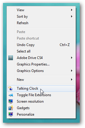 Talking clock in right click context menu without any software