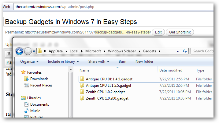 Backup Gadgets in Windows 7 in Easy Steps
