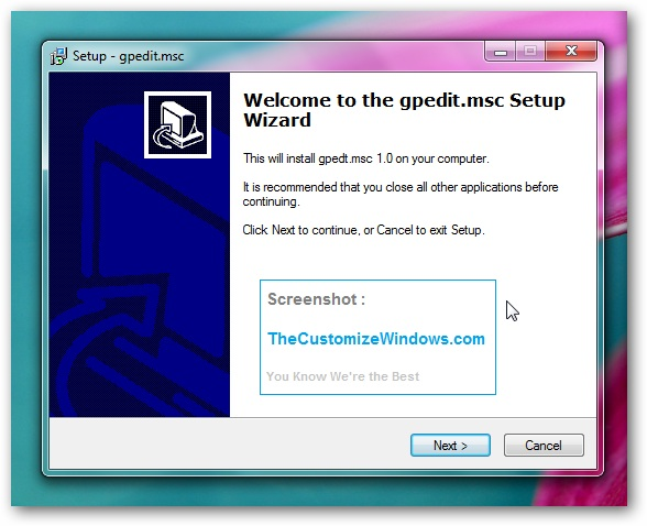 Group Policy Editor (gpedit.msc) in windows 7 home premium : Enable