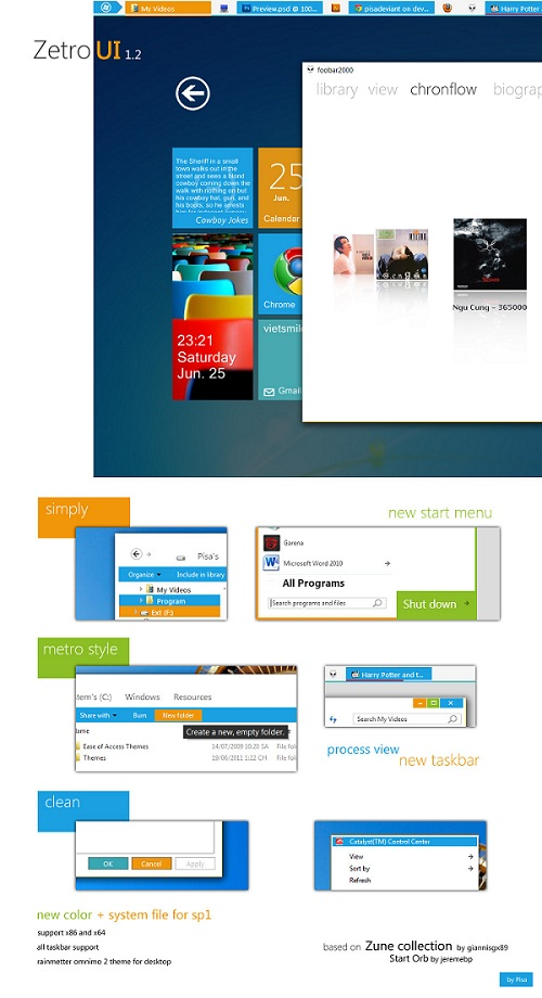 Metro UI inspired Windows 7 Theme Zetro