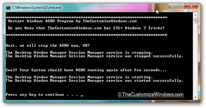 Restart Windows 7 AERO with a simple batch file