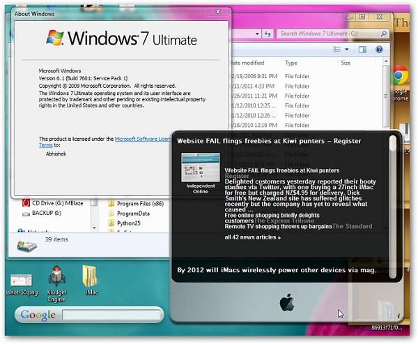 Run Apple Mac Dashboard Widgets on Desktop of Windows 7 using Kludget