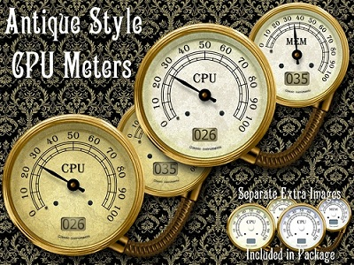 CPU Meter Gadget of Antique Style for Windows 7-Beautiful and Elegant