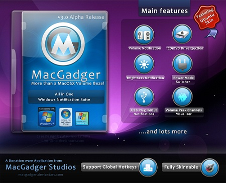 MacGadger which can Emulate Mac OS X features on Windows 7