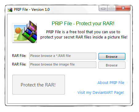 Protect RAR file with PRIF File