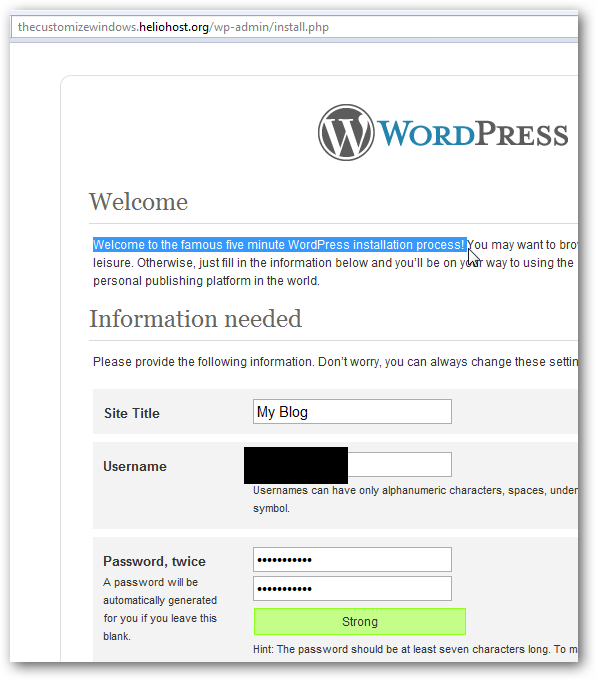 WordPress on Helio Host