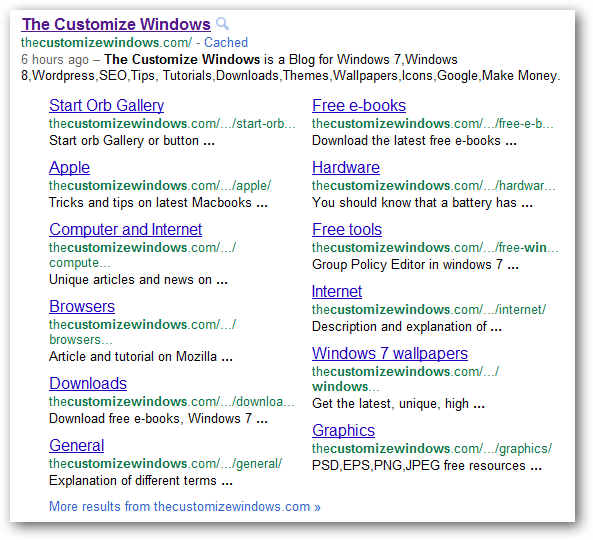 the customize windows -new sitelinks