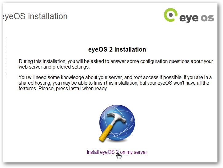 Install eyeOS locally