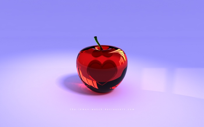 Red glass apple with a heart inside wallpaper for pc or - Red apple wallpaper ...