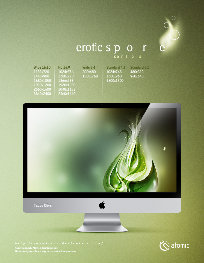 Olive Spore Digital Art Three Color Set Premium Quality Wallpaper
