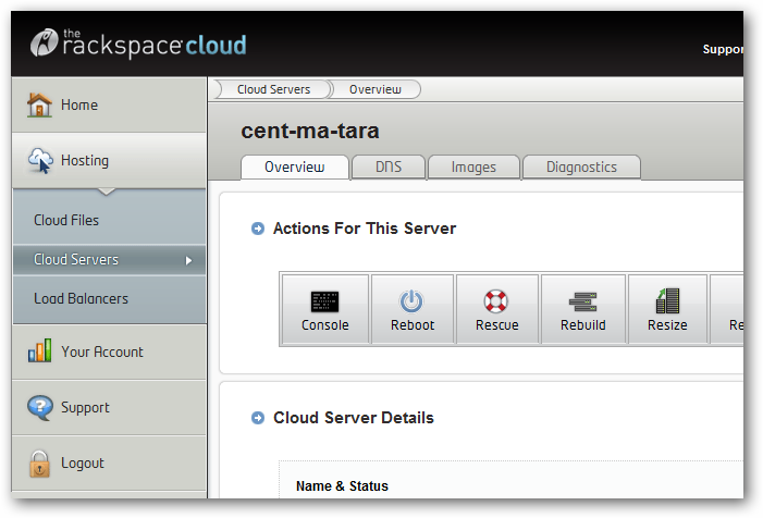 Rackspace Cloud Server