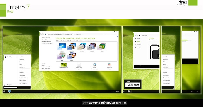 Metro UI Theme for Windows 7 Green and Blue version