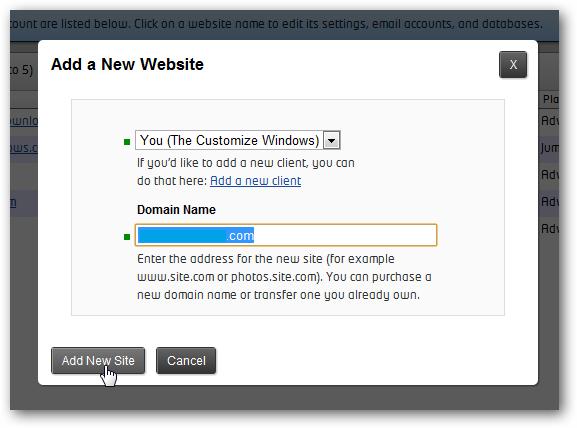 Add a new website in rackspace cloud sites