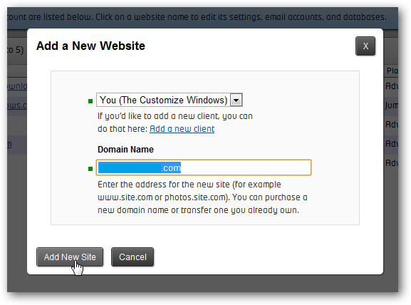 Add a new website in rackspace cloud sites