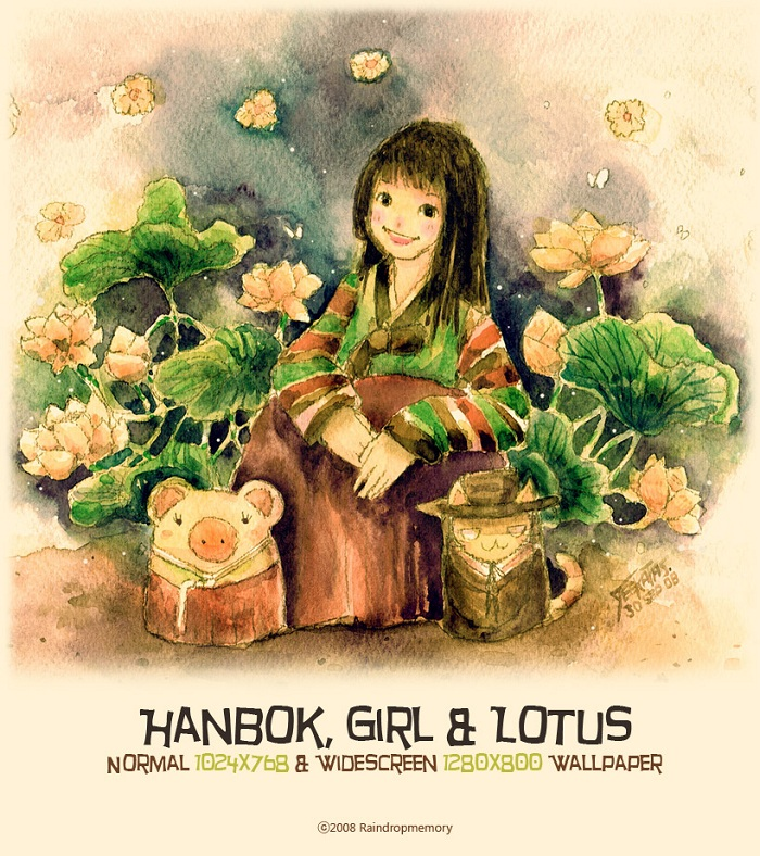 Hanbok, Girl and Lotus Wallpaper