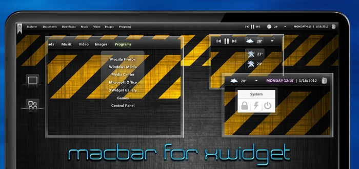 Mac Like Bar Widget for Windows PC