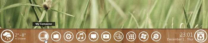 Windows 8 Metro Like Taskbar Widget wooden