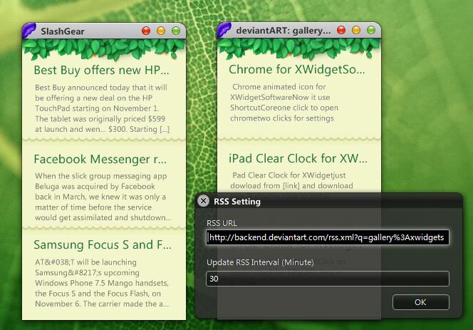 Mac Style RSS Widget for XWidget