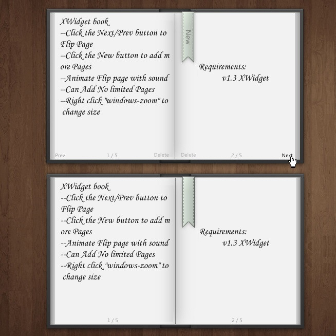 Realistic Book Widget With MultiPage for XWidget