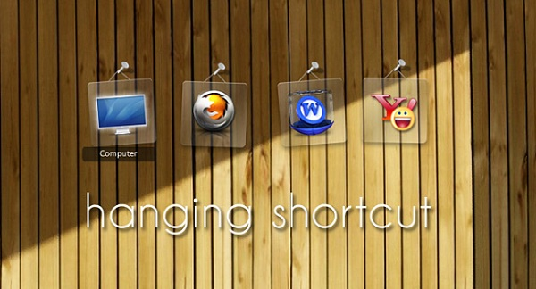 Hanging Glassy Shortcut Widgets