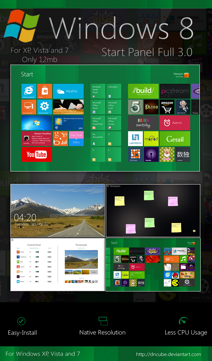 Windows 8 Start Screen For Windows XP,Windows Vista and Windows 7