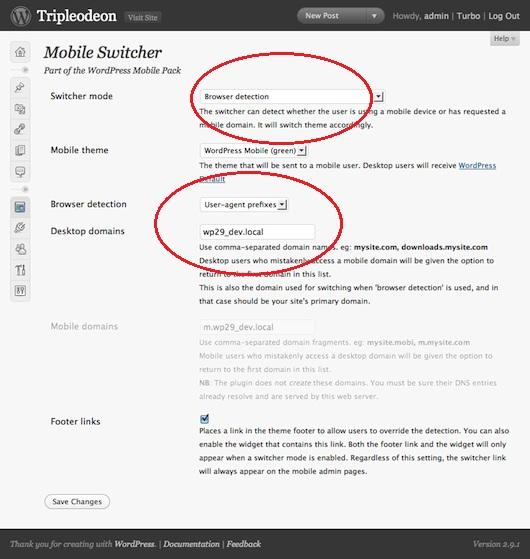 Wordpress Mobile Version Subdomain